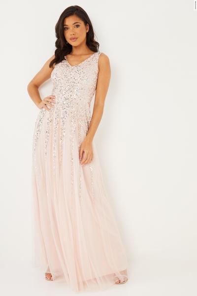 Pink Sequin V Neck Maxi Dress